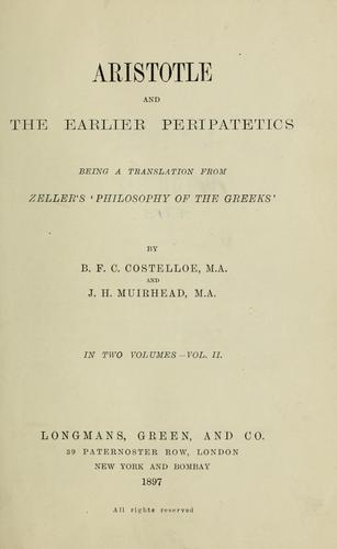 Download Aristotle and the earlier Peripatetics.