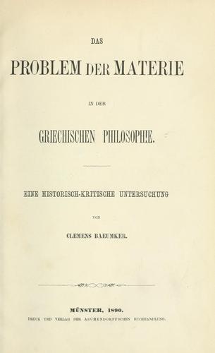 Das Problem der Materie in der griechischen Philosophie