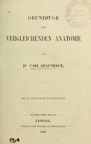 Grundzüge der vergleichenden Anatomie