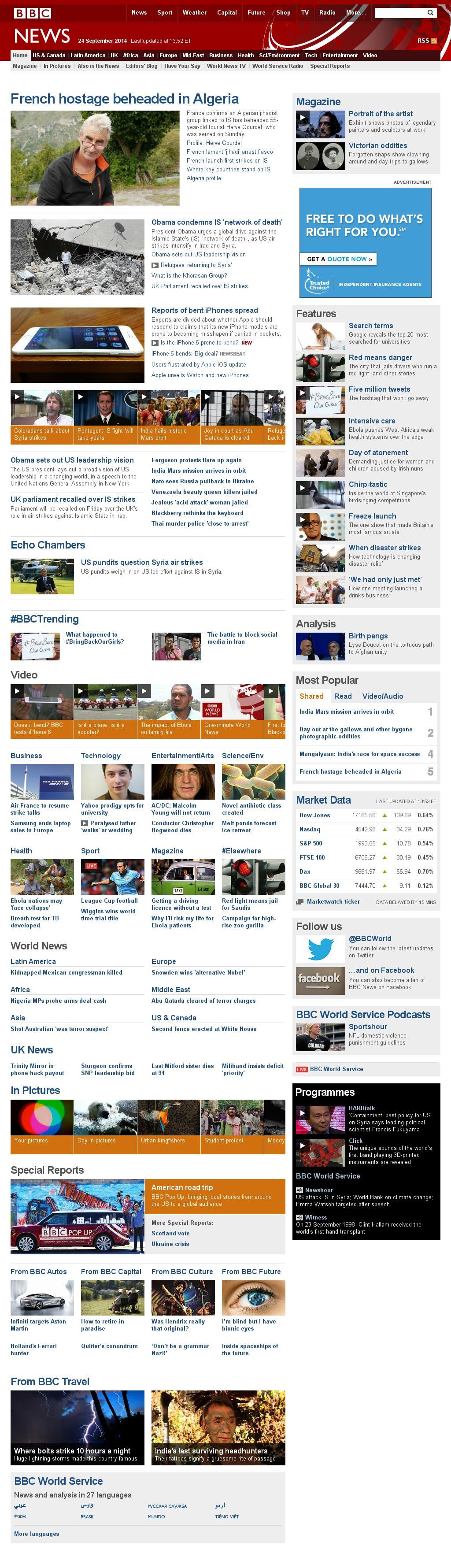 BBC at Wednesday Sept. 24, 2014, 6 p.m. UTC