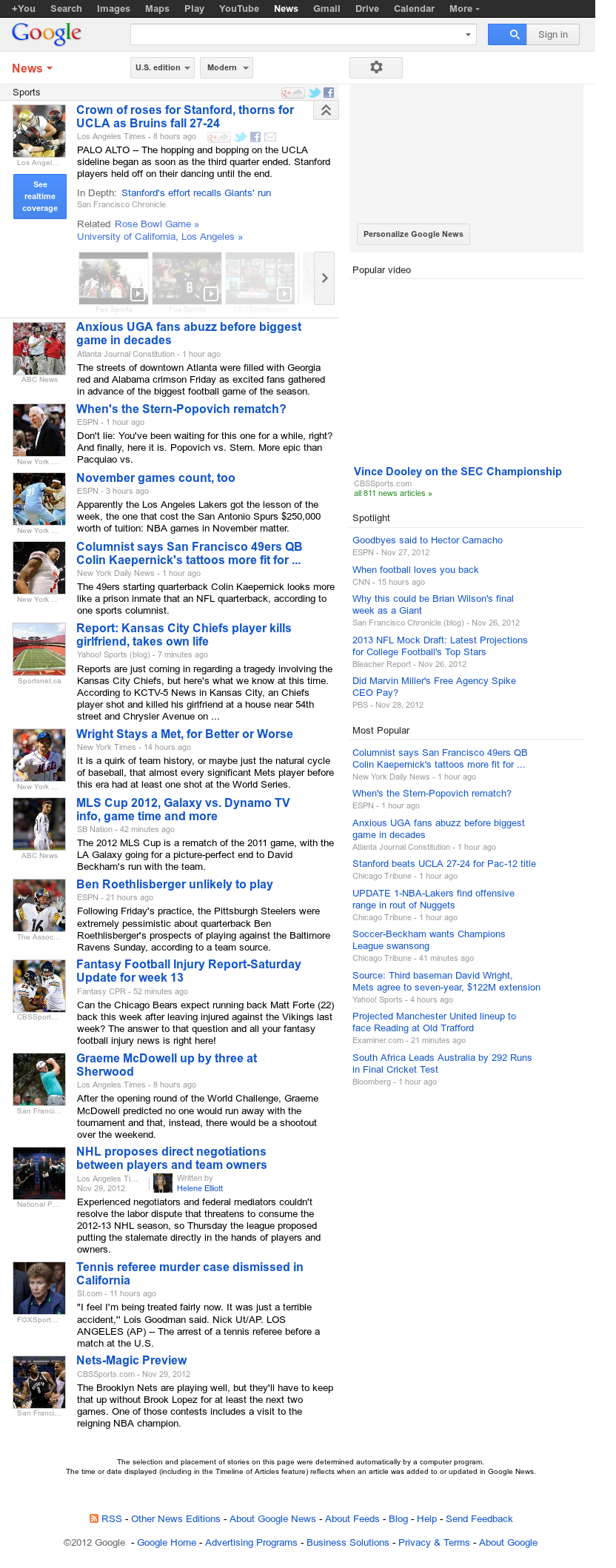 Google News: Sports at Saturday Dec. 1, 2012, 4:12 p.m. UTC