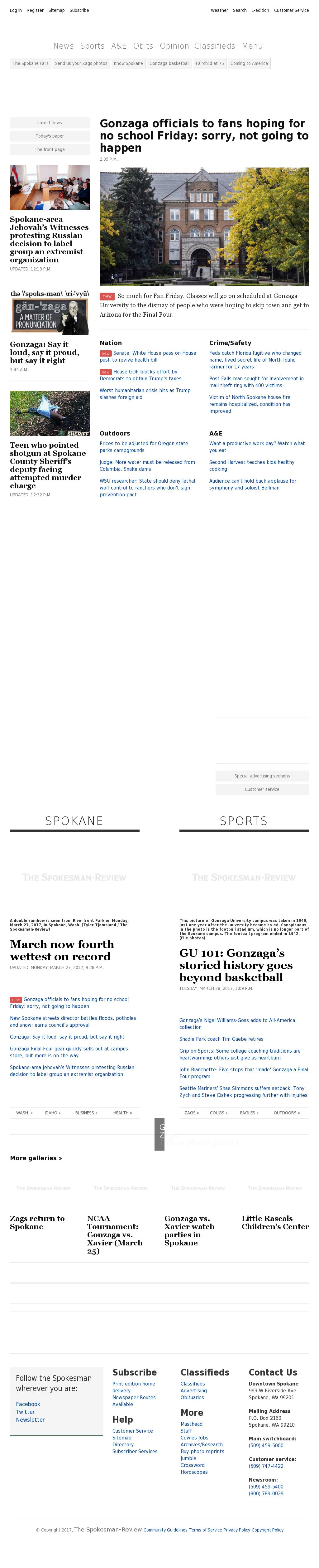 The (Spokane) Spokesman-Review at Tuesday March 28, 2017, 11:19 p.m. UTC