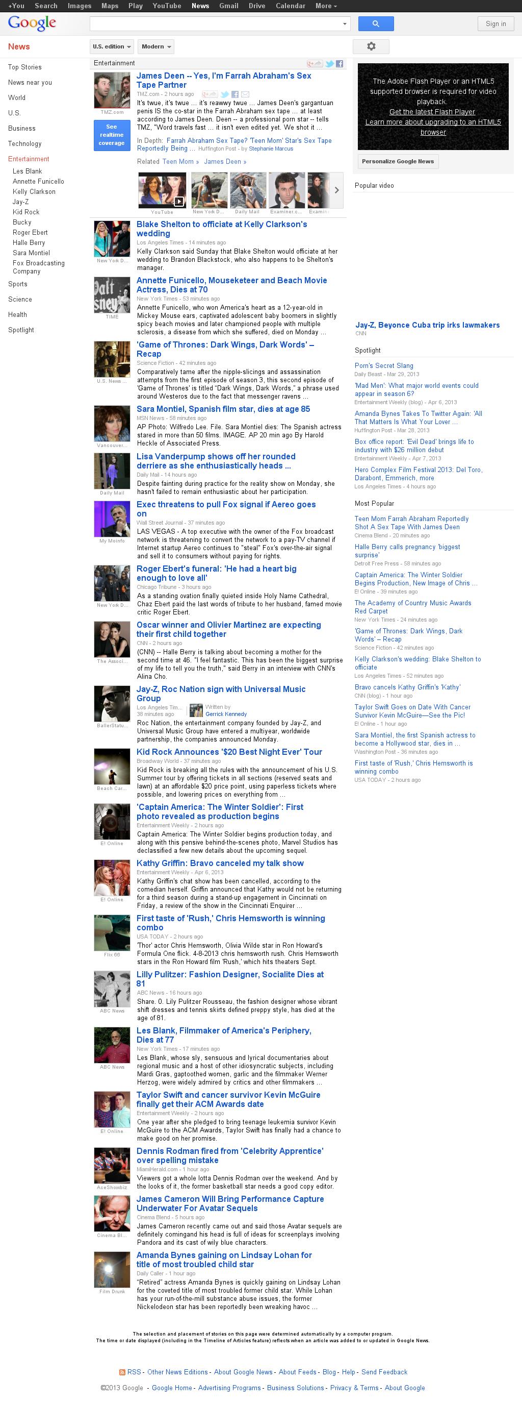 Google News: Entertainment at Monday April 8, 2013, 8:19 p.m. UTC