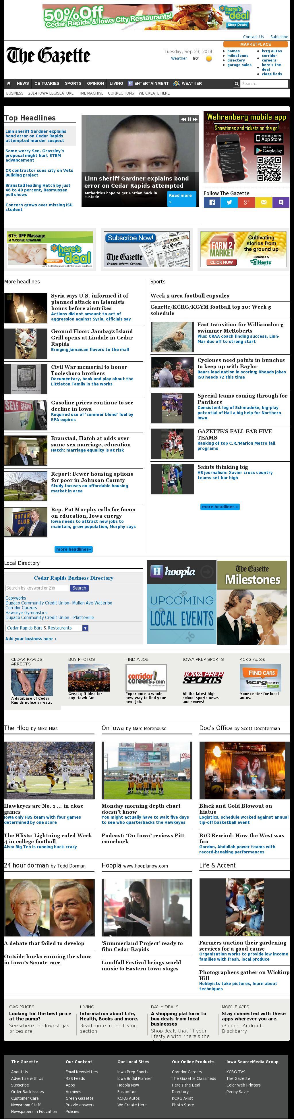 The (Cedar Rapids) Gazette at Tuesday Sept. 23, 2014, 4:06 p.m. UTC