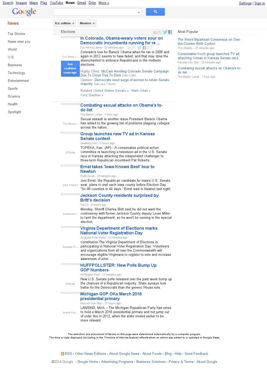 Google News: Elections at Tuesday Sept. 23, 2014, 1:06 p.m. UTC