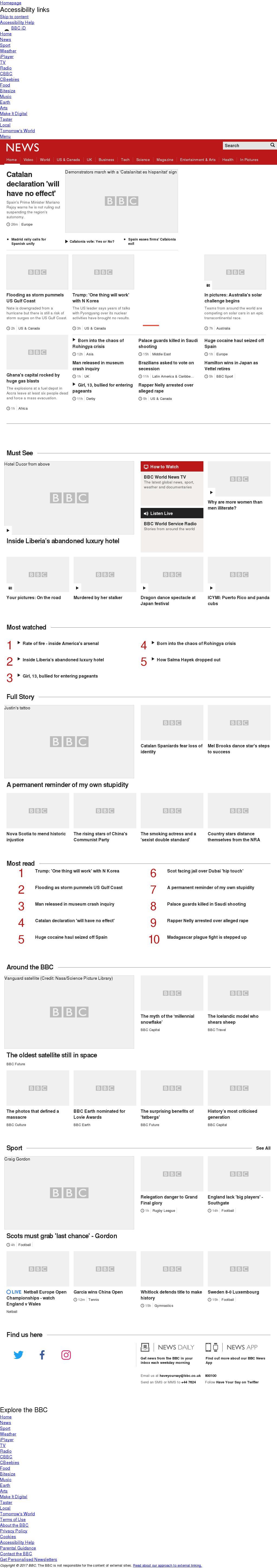 BBC at Sunday Oct. 8, 2017, noon UTC