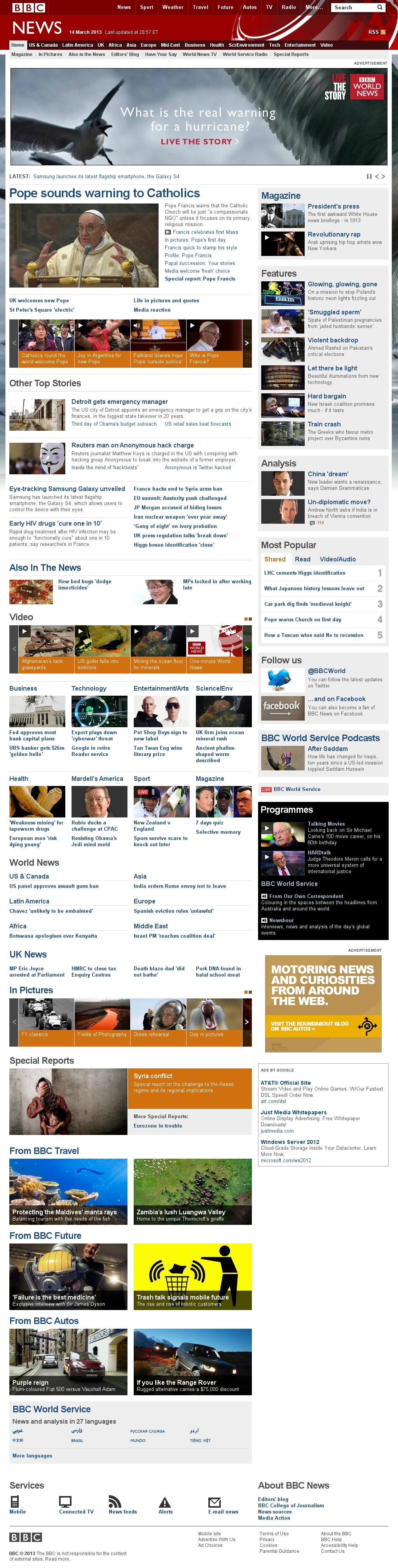 BBC at Friday March 15, 2013, 1:01 a.m. UTC