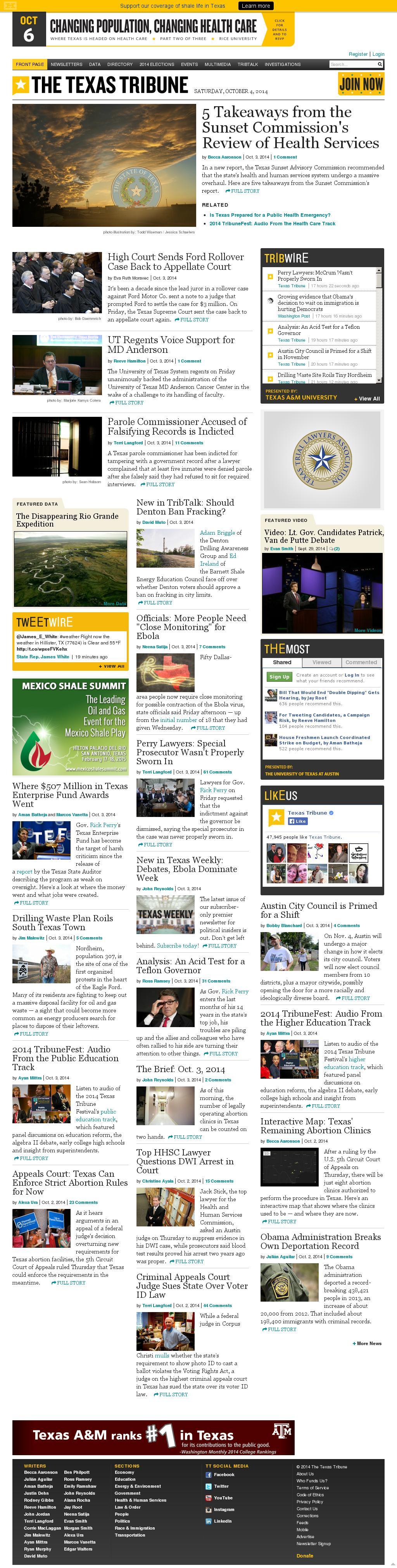 The Texas Tribune at Saturday Oct. 4, 2014, 10:17 a.m. UTC