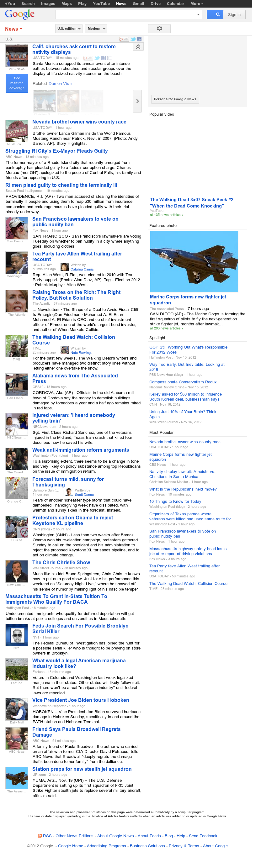 Google News: U.S. at Monday Nov. 19, 2012, 4:12 p.m. UTC