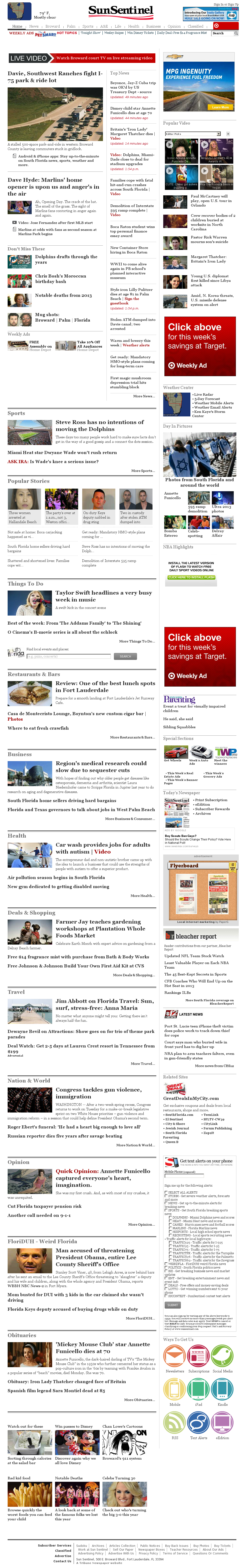 (Florida) Sun Sentinel at Monday April 8, 2013, 7:23 p.m. UTC
