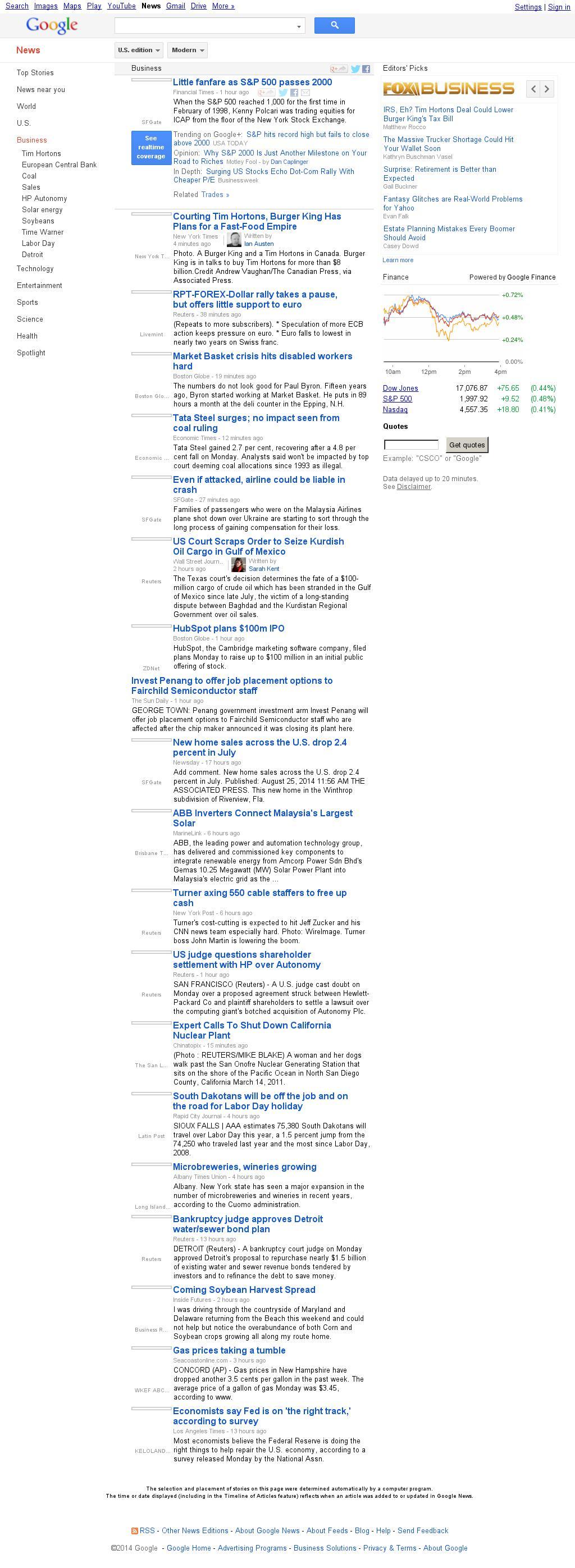 Google News: Business at Tuesday Aug. 26, 2014, 10:06 a.m. UTC