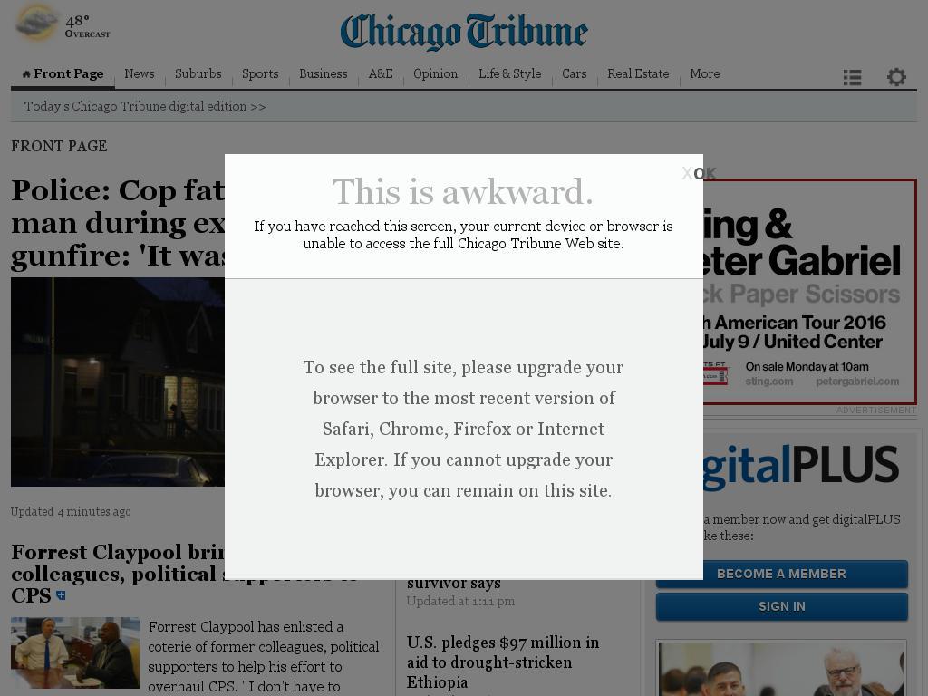 Chicago Tribune at Sunday Jan. 31, 2016, 5:02 p.m. UTC