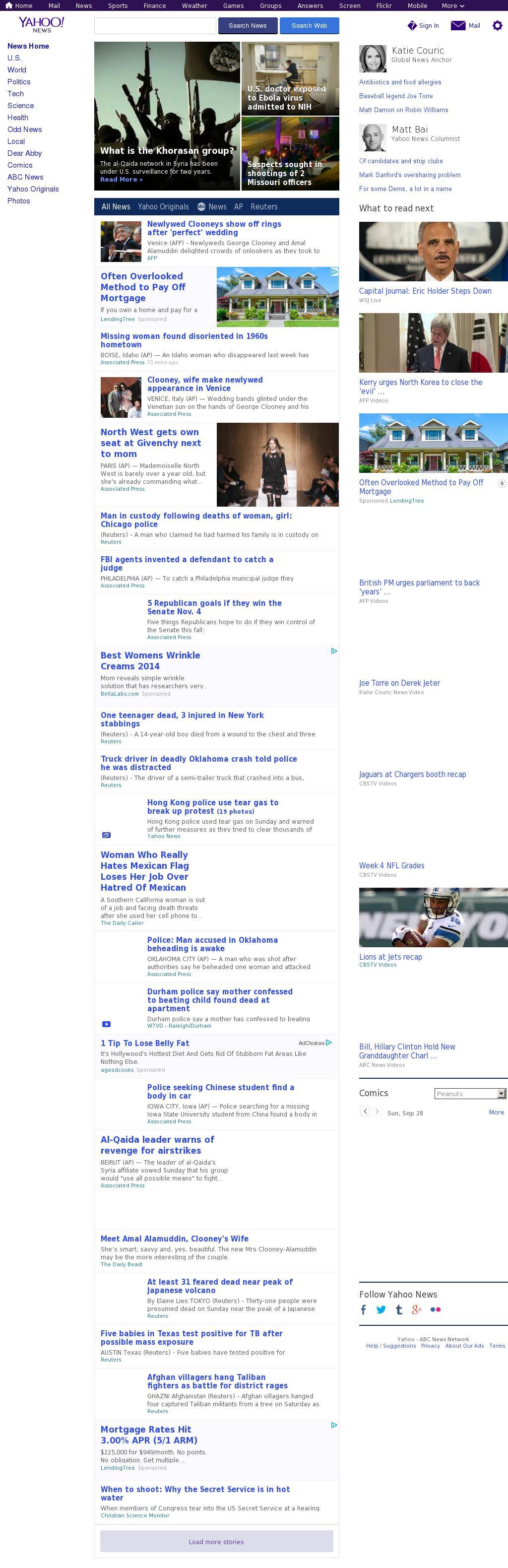 Yahoo! News at Monday Sept. 29, 2014, 1:22 a.m. UTC