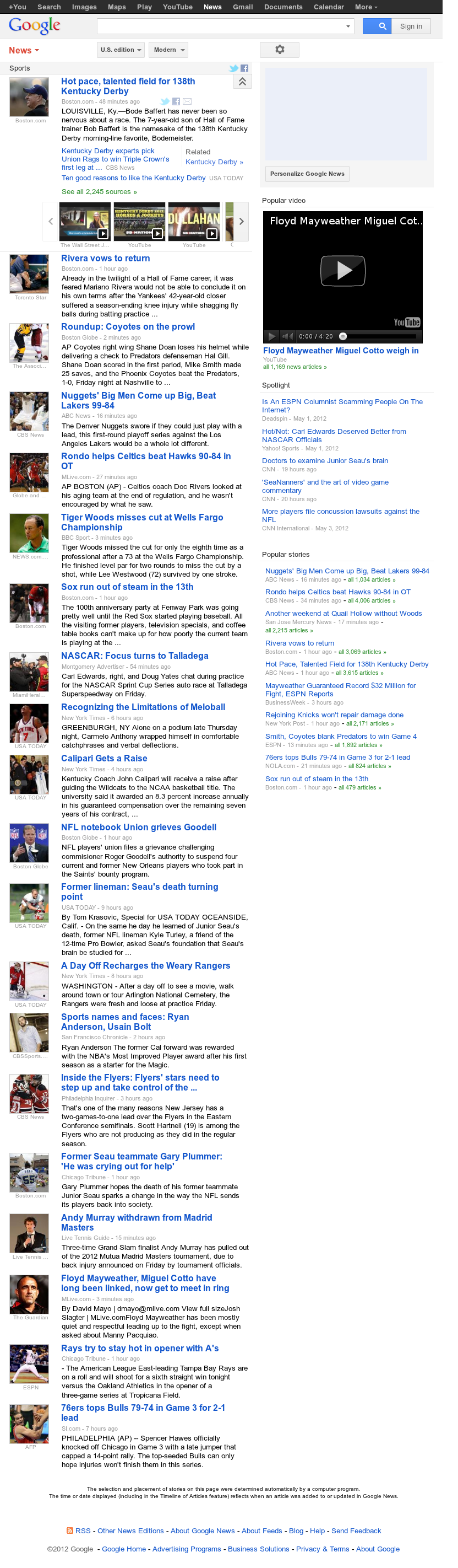 Google News: Sports at Saturday May 5, 2012, 10:06 a.m. UTC