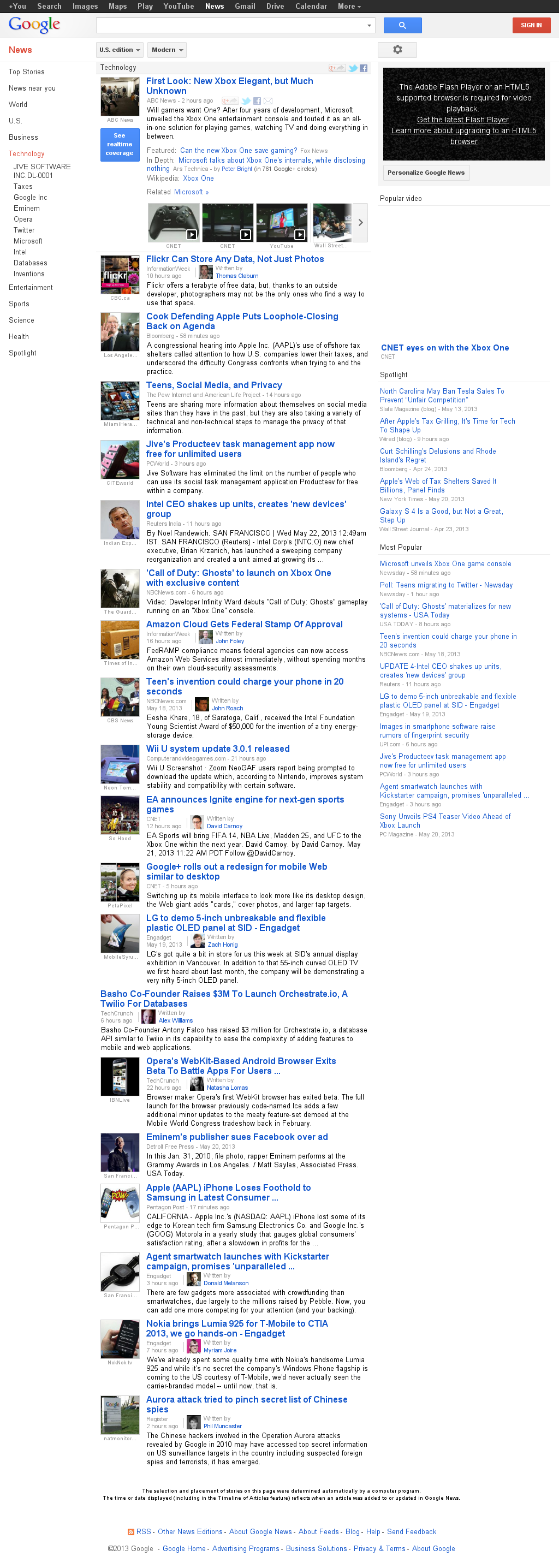 Google News: Technology at Wednesday May 22, 2013, 7:08 a.m. UTC