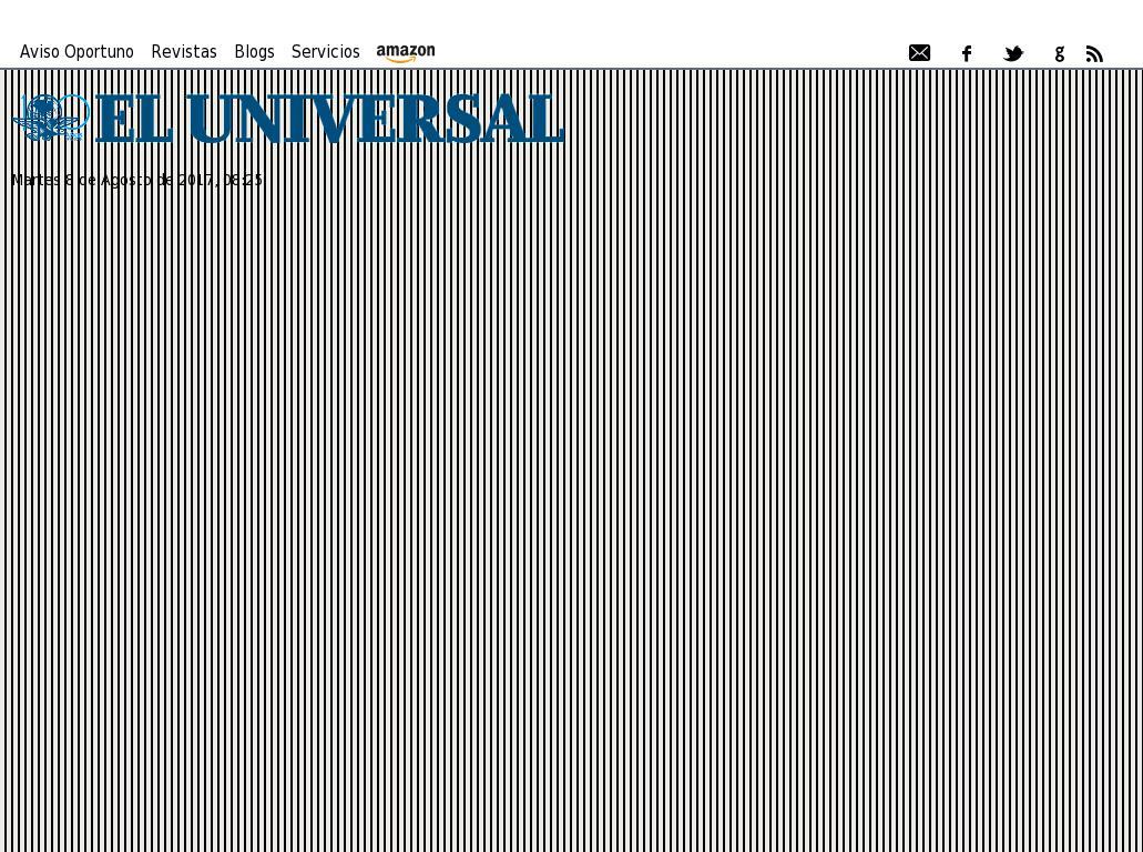 El Universal at Tuesday Aug. 8, 2017, 1:27 p.m. UTC