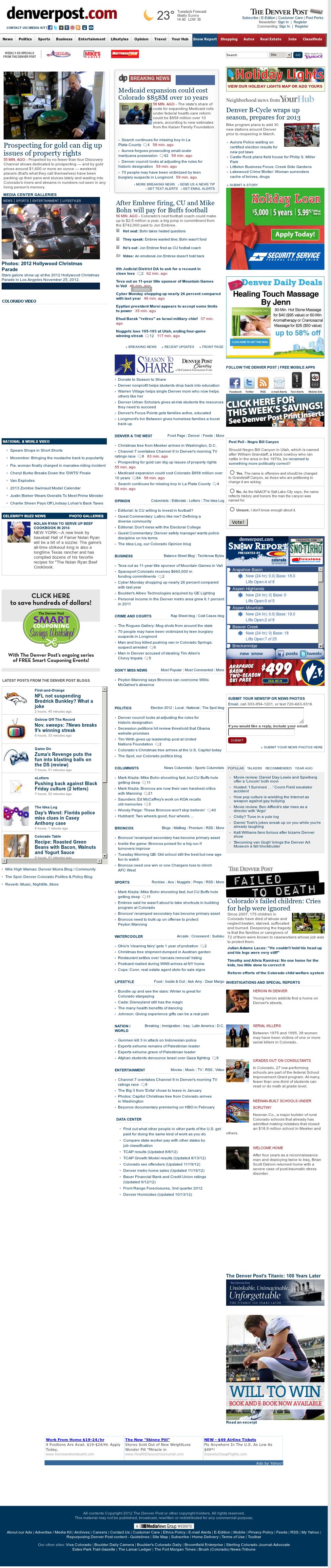 Denver Post at Tuesday Nov. 27, 2012, 8:06 a.m. UTC