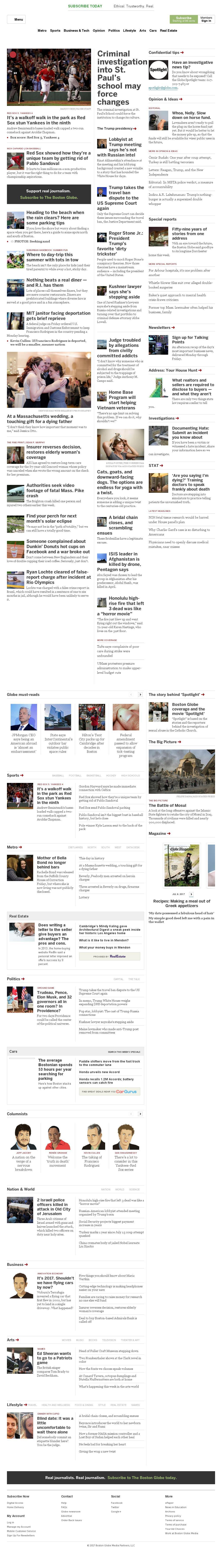 The Boston Globe at Saturday July 15, 2017, 1:02 p.m. UTC
