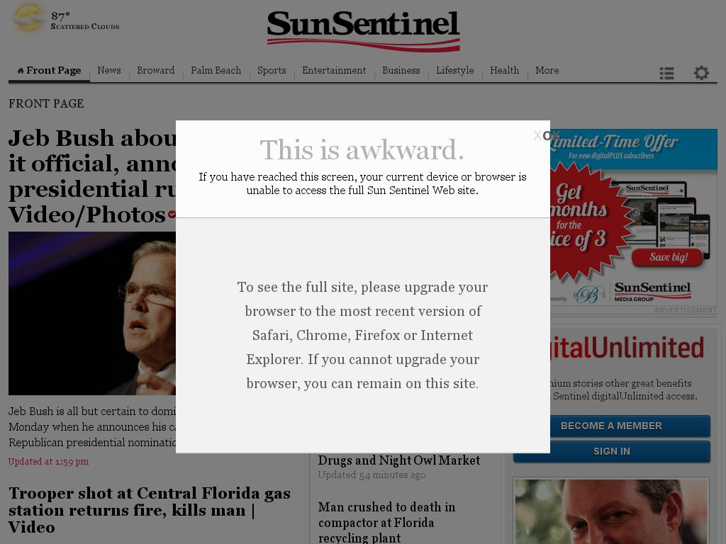 (Florida) Sun Sentinel at Monday June 15, 2015, 3:28 p.m. UTC