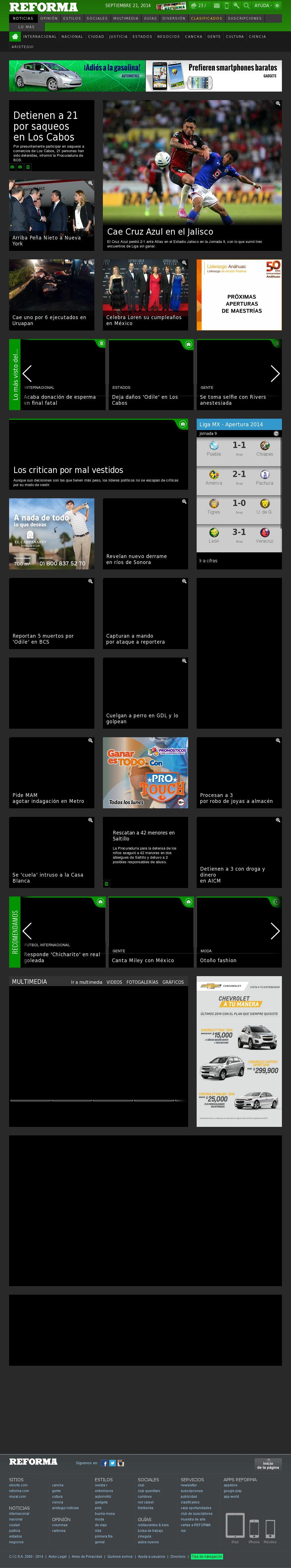 Reforma.com at Sunday Sept. 21, 2014, 7:14 a.m. UTC