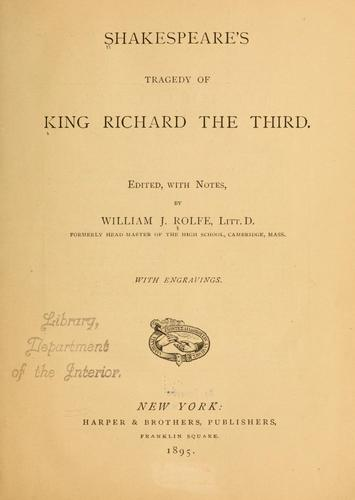 Shakespeare's Tragedy of King Richard the Third by