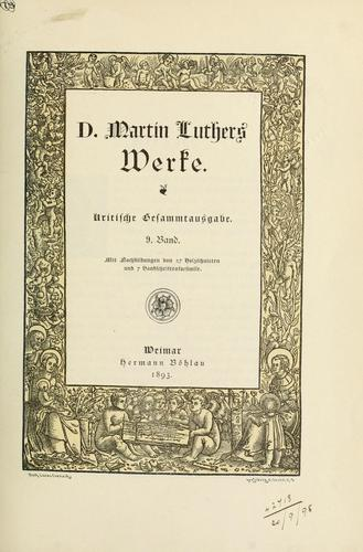 Werke by Martin Luther