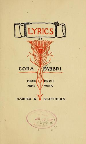 Lyrics by Cora Randall Fabbri